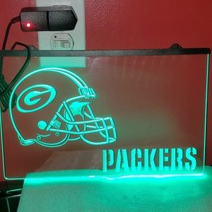 """12""""X 8"""" PACKERS LED HANGING LIGHT SIGN. 3D etched."""